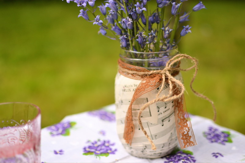 mason jar makeover with sheet music