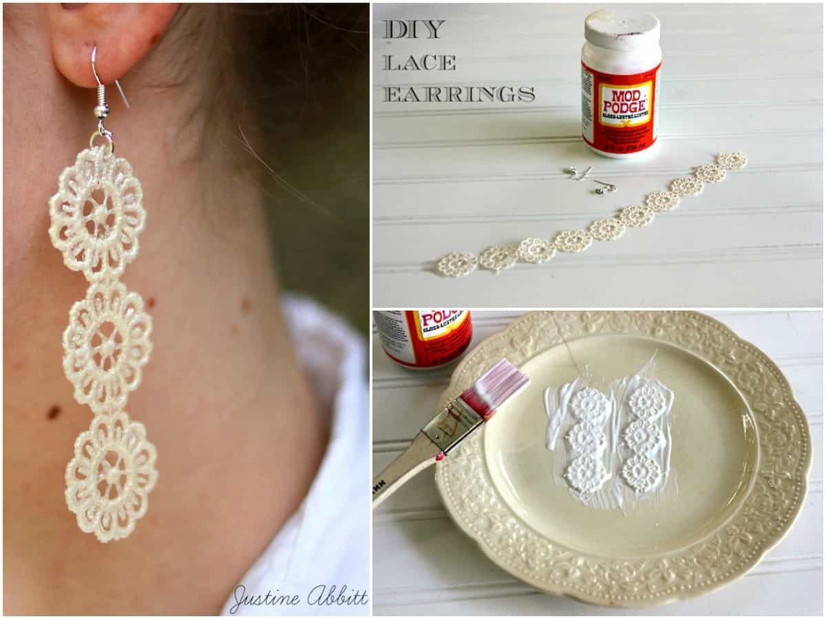 how to make diy lace earrings - mod podge rocks