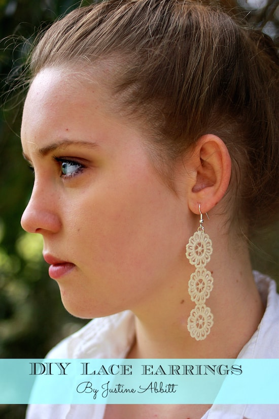 These gorgeous DIY lace earrings were made with some scraps that Justine had in her stash - they're so easy and make great gifts!
