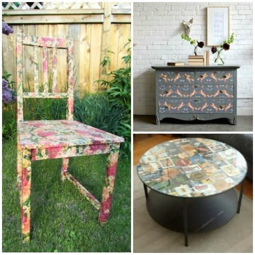 15 Unique Decoupage Furniture Projects Mod Podge Rocks
