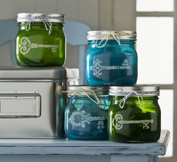 Use Sheer Colors To Tint These Mod Podge Mason Jars, Then Add Glitter  Shapes To