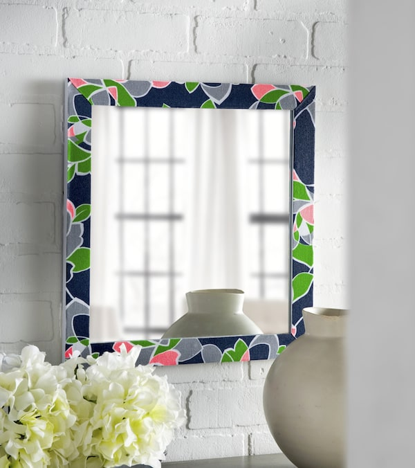Decoupage Mirror Frame with a Fabric Pillowcase
