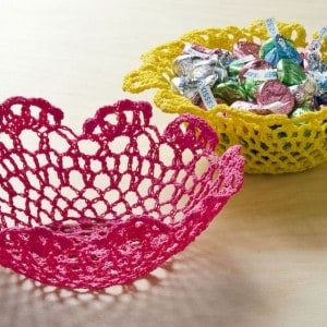 I used doilies from the dollar bins and Mod Podge Stiffy in this unique doily bowl project! You can make one with any size doily.