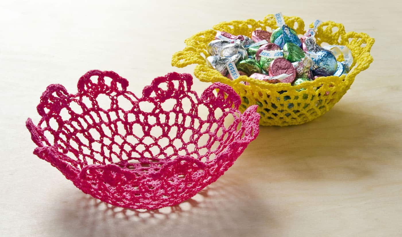 I used doilies from the dollar bins and Mod Podge Stiffy to make these unique Stiffy bowls! You can make them with any size doily.