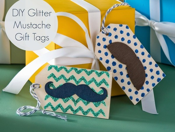 Mustache crafts - easy wood glitter gift tags