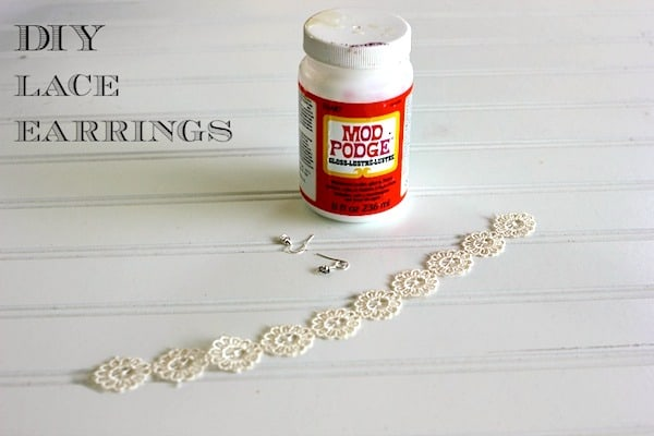 DIY lace earrings made with Mod Podge