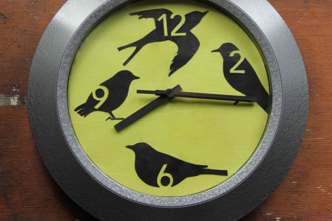 Spring time decoupage bird clock