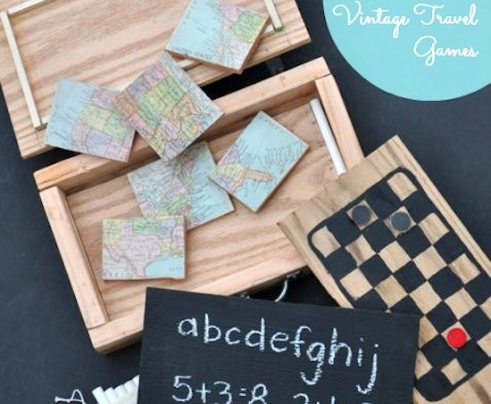 DIY Wooden Vintage Travel Games Set