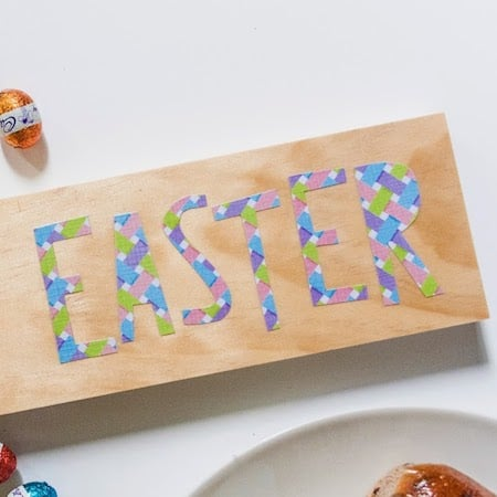 Learn how to decoupage a simple Happy Easter sign with a fun font. Just use Mod Podge and your favorite paper patterns to make it your own!