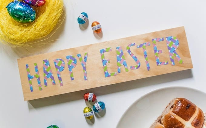 Decoupage a happy easter sign