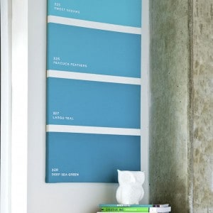If you want to make sure you have a unique canvas project as part of your decor, check out this easy paint chip art made with Mod Podge.