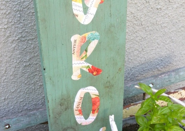 DIY seed packet garden sign with Mod Podge