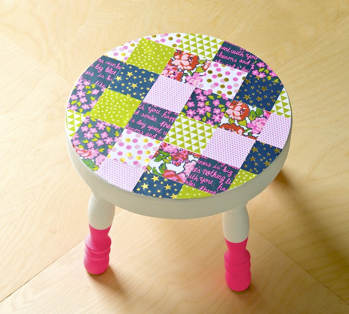 Decoupage a patchwork stool