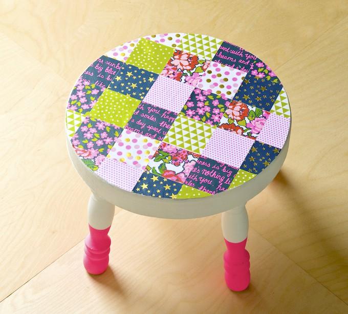 Decoupage a patchwork stool