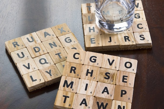 Make coasters from scrabble tiles