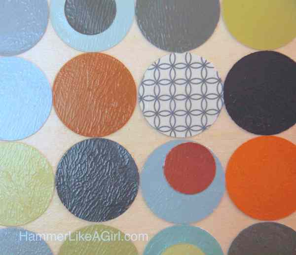 Polka dot DIY wall art from paint swatches