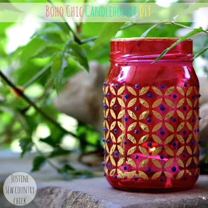 These Mason Jar Candle Holders Are Boho Chic