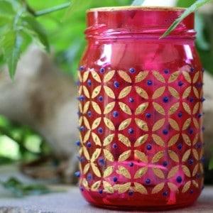 Easy boho chic mason jar candle holders