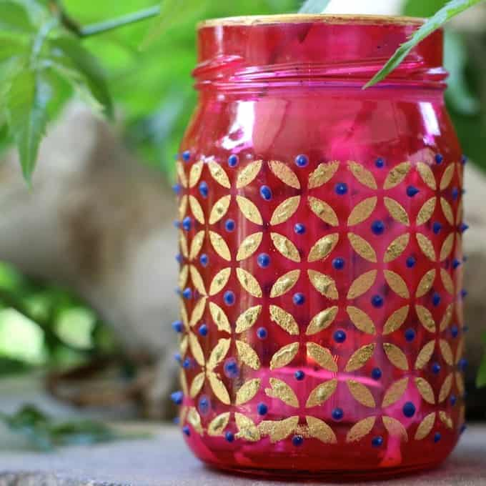 Easy boho chic mason jar DIY candle holders