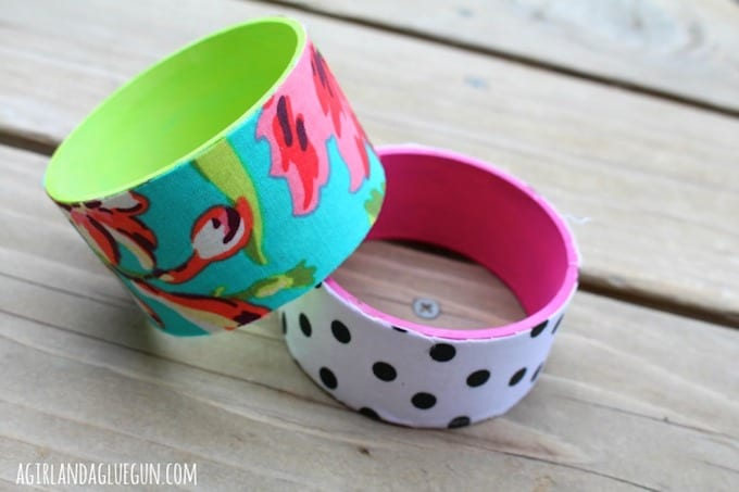 Bracelets made from empty tape rolls