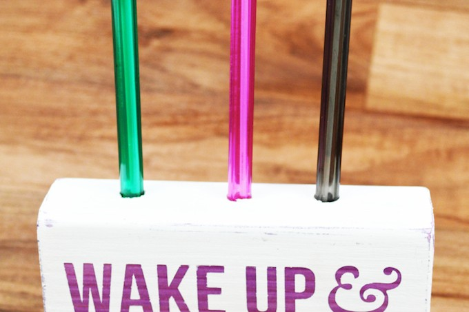 Wake up and be awesome - that's the motto of this DIY pen holder, and you can make it easily with Mod Podge Sheer Colors!