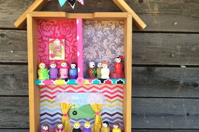 Turn a drawer into a dollhouse
