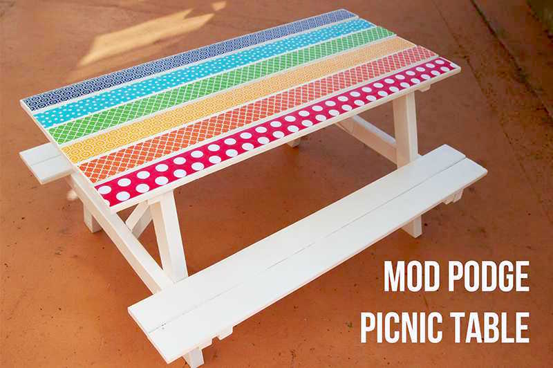 Mod Podge picnic table makeover