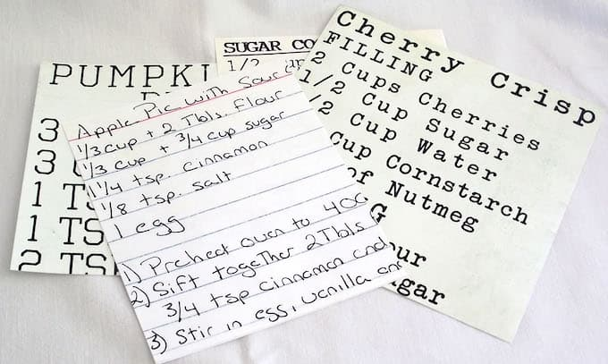 Vintage recipes scanned printed and enlarged