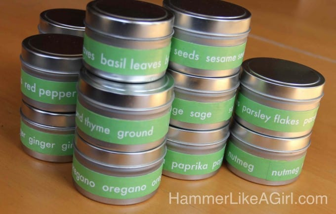 DIY organization: decoupage labels for spice tins