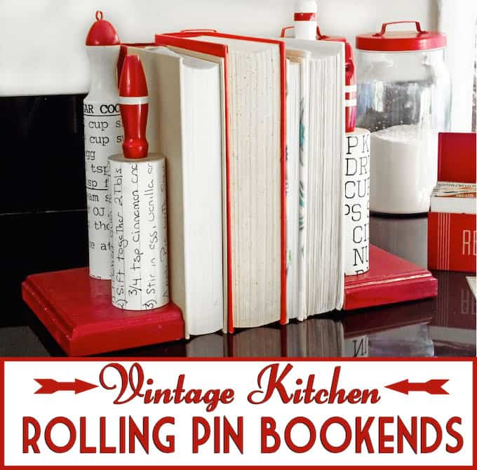 Vintage Kitchen Rolling Pin DIY Bookends