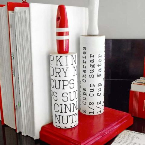 Vintage rolling pins become DIY book ends