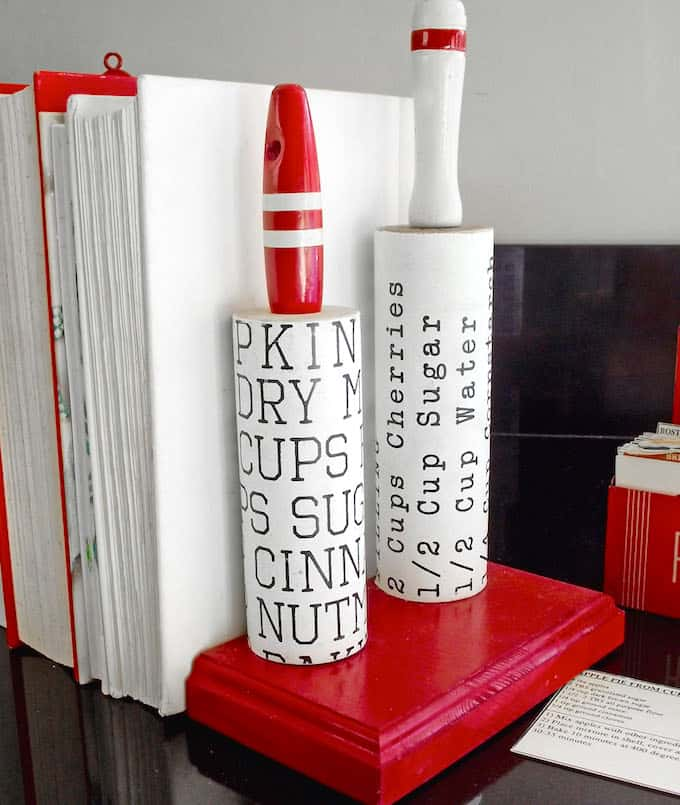 Vintage kitchen rolling pins DIY bookends