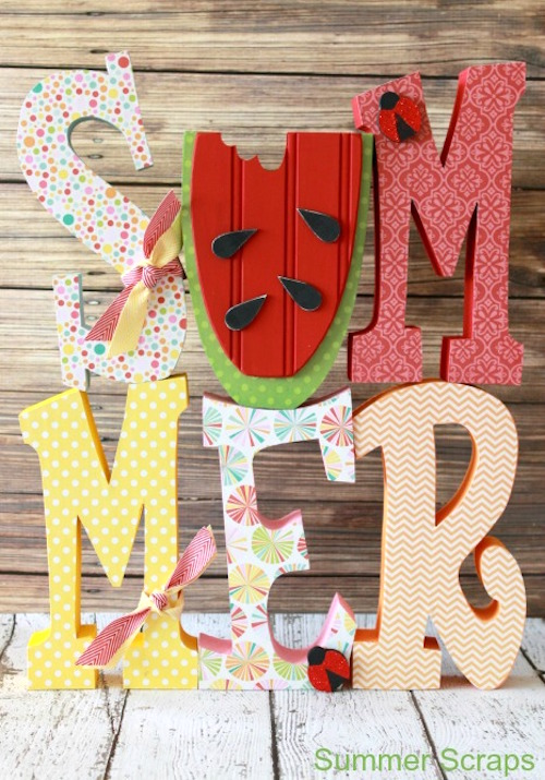 decoupage summer letter set