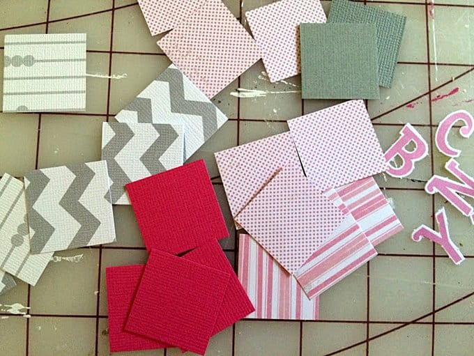 Paper squares on a cutting mat