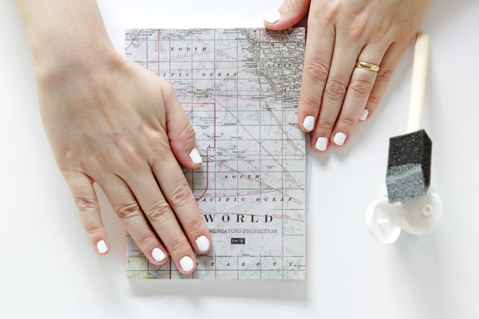Decorate a Notebook Cover with a Map and Mod Podge
