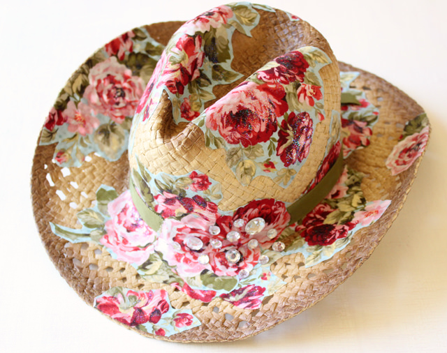 mod podge and fabric cowboy hat