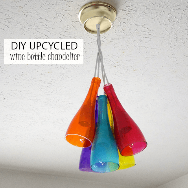 Use cut wine bottles and Mod Podge Sheer Colors to make this beautiful and unique wine bottle chandelier. Customize with your own colors!