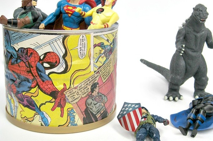 Decoupaged comic book craft - toy can