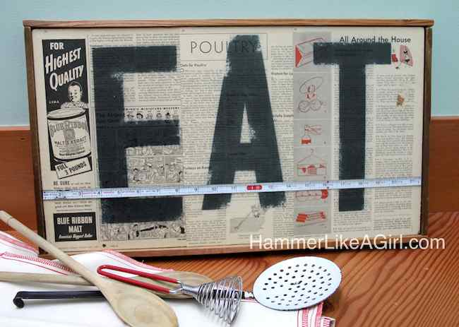 How to create a vintage EAT sign with decoupage