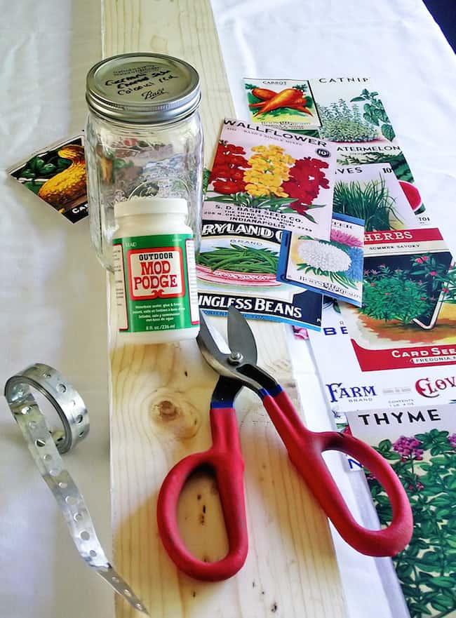 Supplies to make a mason jar herb garden
