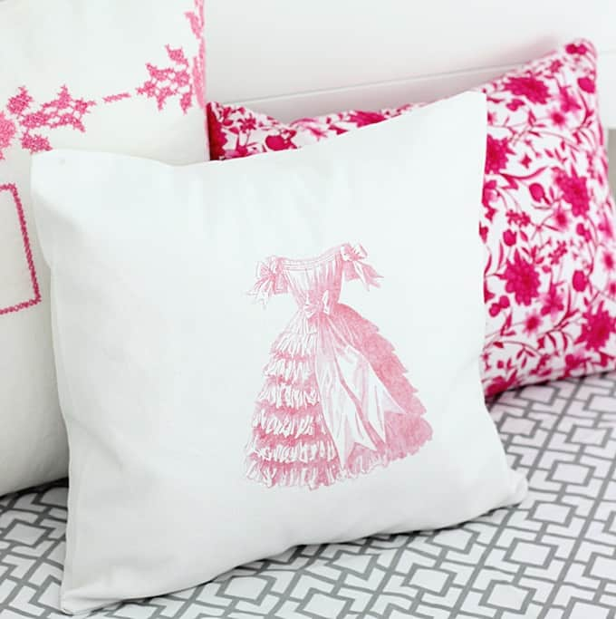 Vintage image transfer to a fabric pillow