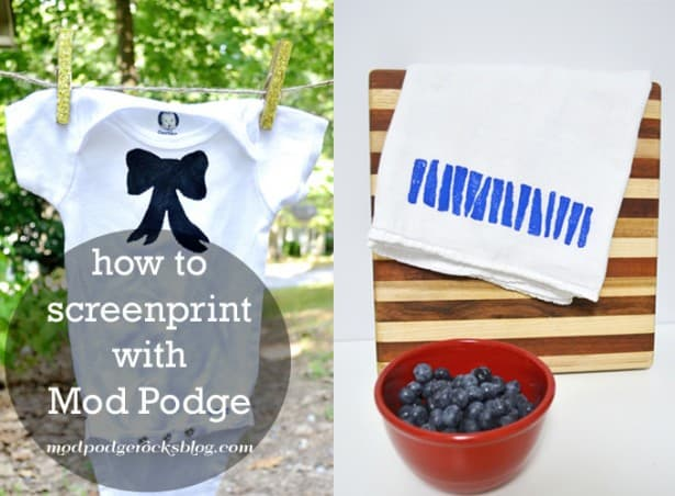 Screen printing is fun, but it can be expensive and uses toxic chemicals. This DIY screen printing with Mod Podge is easy, non-toxic and budget friendly!