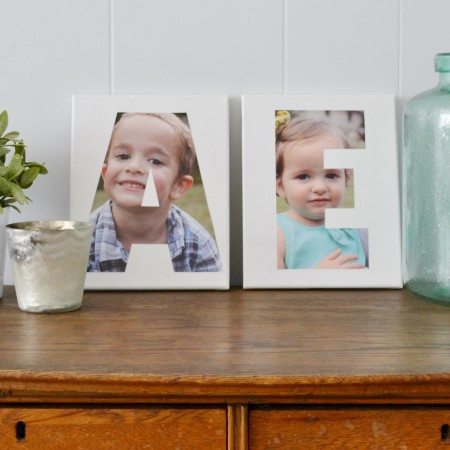 Make Mod Podged photo initial art - such a cute home decor or gift idea!