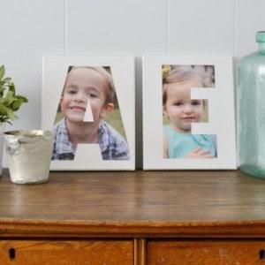 Make Mod Podged photo initial art - such a cute home decor or gift idea!