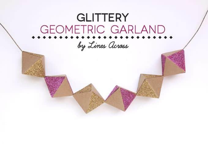 Glittery Geometric Paper Garland (Free Template!)