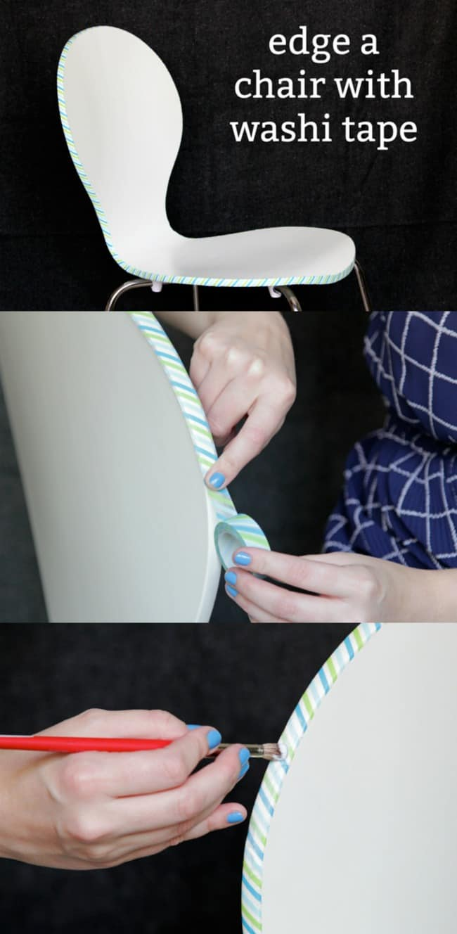 How to edge a chair with washi tape