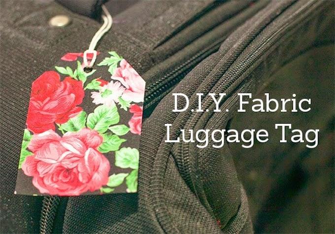 Pretty DIY luggage tag made with fabric