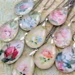 Make vintage wallpaper pendants using old chandelier crystals!