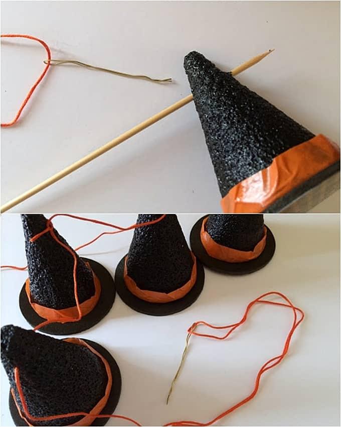 DIY Halloween witch hat garland - Mod Podge Rocks