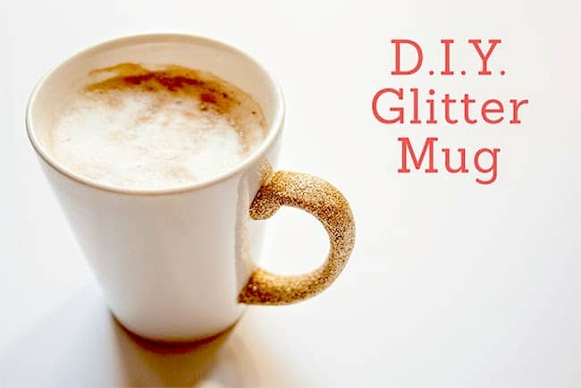 You can make this DIY glitter mug with Dishwasher Safe Mod Podge - then you can safely wash it without any glitter coming off!